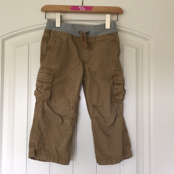 Hanna Andersson Jersey Lined Cargo Pants Khaki Brown Size 110 5 NWT